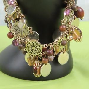 Jewelry - 3/15 Gold and Wooden Bead Charm Bracelet